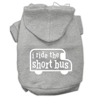I ride the short bus Screen Print Pet Hoodies Grey Size XL (16)