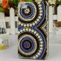 [gry]]luxurious totem Rhinestone retro pearl case for iphone 4/4s-blue