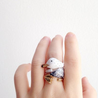 Sea Gull 3 Piece Ring Set - Enamel ring, Animals Ring, Animals Jewelry, Enamel Brass Jewelry, Trio Ring, Animal, Gift, Cutie, Mary Lou, Bird