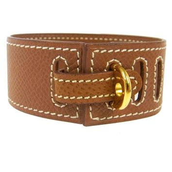 Hermes Cognac Leather Gold Buckle Charm Men's Women's Evening Cuff Bracelet