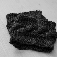Dark gray cable knit boot cuffs,  boot warmers, leg warmers, women clothing, accessories,