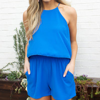 Blue Sleeveless Ruffle Romper With Pockets
