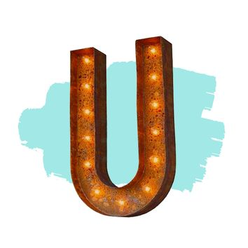 "12"" Letter U Lighted Vintage Marquee Letters (Modern Font/Rustic)"