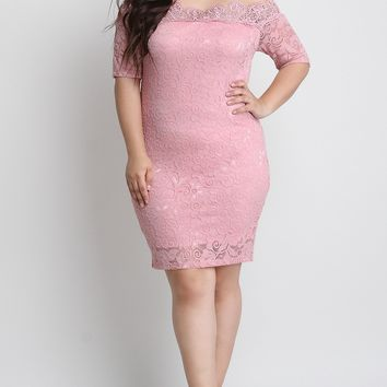 Floral Lace Off-The-Shoulder Elbow Sleeves Bodycon Dress