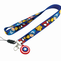 Marvel Captain America Lanyard Keyring with Shield Dangle