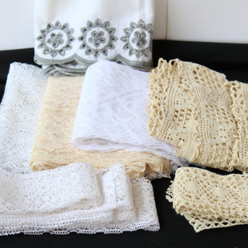 Lace and Vintage Ecru Crochet Trims Lot , Lace Remnants , Multicolor Trim , Wide Gray White Eyelet Trim , White and Ecru Lace Panels