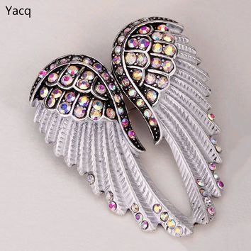 YACQ Angel Wings Brooch Pin Pendant Women Biker Jewelry Gifts for Mom Her Wife Girlfriend W Crystal ping BD03