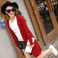 Female Cardigan Long Cashmere knitted cardigans long-sleeved thin coat sweater women's knit jacket loose coat sweaters cardigan