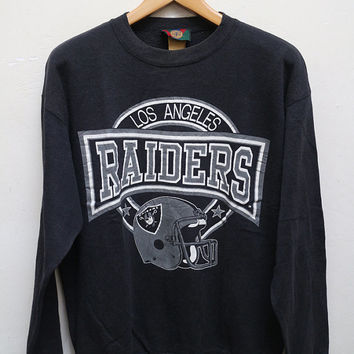 Vintage RAIDERS Los Angeles Pullover Sweatshirt Sweater Black Color Size L