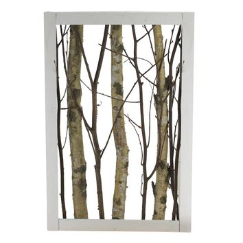 "22.5"" Mixed Branches in White Wood Frame Table Top Decoration"