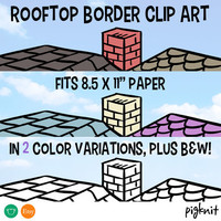 Rooftop Border Clipart, House Border