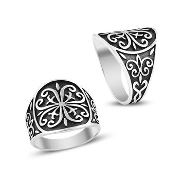 Turkish art band silver mens ring