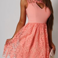 Darcy Peach Floral Lace Skater Dress