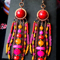 Long Tropical boho dangle earrings, festive ethnic jewelry, passion fruit Bohemian beaded tassel earring, tribal buddhist, red pink orange