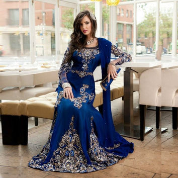 2016 Stunning Royal Blue Beaded Muslim Evening Dress Long Sleeves Moroccan Kaftan Dress Stretch Satin Chiffon Party Gowns FY171