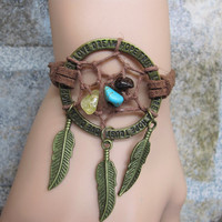 Dreamcatcher Bracelet  / Feather Bracelet / Natural stone Beads Bracelet  / Native American Jewelry
