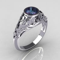 Classic French 14K White Gold 0.65 Carat Alexandrite Pave Diamond Designer Ring R302-14WGDAL