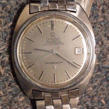 ONETOW VINTAGE OMEGA CONSTELLATION 24 JEWELS STAINLESS STEEL WATCH with DATE