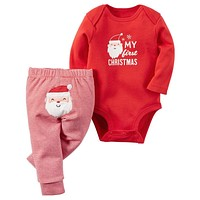 My First Christmas Baby Clothes Set Infant Clothing Newborn Baby Boys Girls Xmas Bodysuit + Pants Clothes Kids Outfits 21