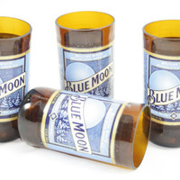 Blue Moon Drinking Glasses, from Recycled Beer Bottles, 8 oz