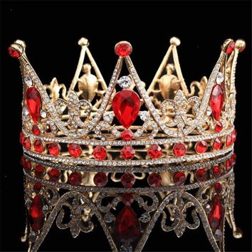 Crystal King Queen Baroque Crown Tiara Bridal Wedding hair jewelry Metal Headpieces Prom Tiaras and Crowns Bride Diadem