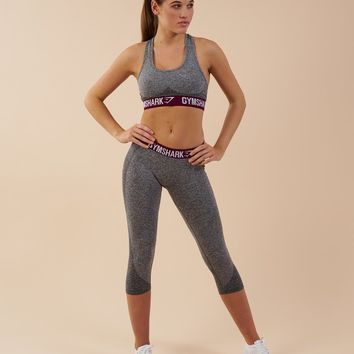 Gymshark Flex Cropped Leggings - Charcoal/Deep Plum