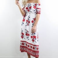 Won't Wait White And Red Floral Maxi Dress