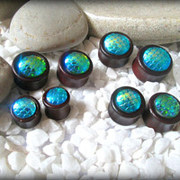 Dragon scale ear plugs tunnels-resin cabochon ear plugs,wood flesh tunnels,mermaid ear plugs-fish scale ear tunnels