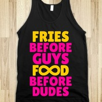 FRIES BEFORE GUYS FOOD BEFORE DUDES (INFINITY YELLOW PINK ART) ON BLACK TANK TOP © Diamond Images