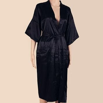 Sexy Black Man Silk Kimono Yukata Bath Gown Chinese Style Unisex Long Robe Summer Casual Sleepwear S M L XL XXL XXXL