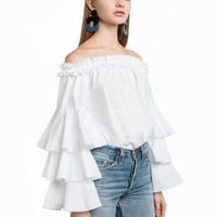 White Ruffled Tiered Sleeve OTS Top
