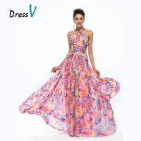 Dressv Gorgeous Long Party Dresses Evening Dress Halter A-line Flutter Floral Print Chiffon Maxi Dresses Prom Formal Dresses
