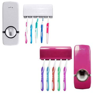 VONC1Y Bathroom Automatic Auto Toothpaste Dispenser Squeezer + Family Toothbrush Holder Set Wall Mount Stickers