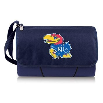 Kansas Jayhawks 'Blanket Tote' Outdoor Picnic Blanket-Navy Digital Print