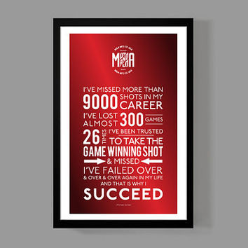 And that is why I succeed - Michael Jordan / Quote Poster - Inspirational & colorful home decor / Sports, motivation, faith