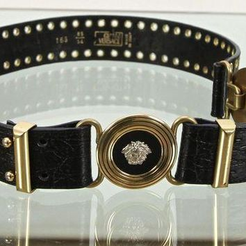 CREY1O Gianni Versace Black Leather Belt Gold Silver Medusa Buckle Sz 85/34 Vintage