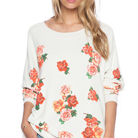 Wildfox Couture Rose Collage Road Trip Sweater in Pink