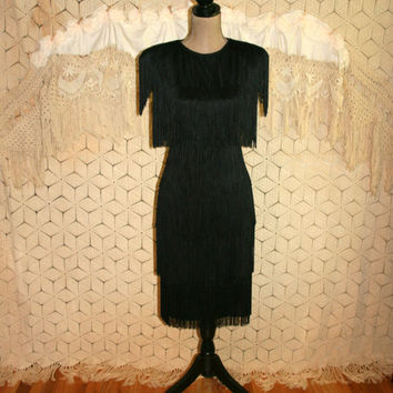 Vintage 80s Does 20s Black Fringe Flapper Dress Small Size 4 1980s Clothing Evening Disco New Wave Salsa Halloween Costume Womens Clothing