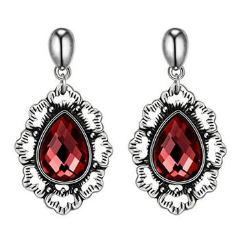 Vikis Fashion Jewelry Antique Design Drop Earrings with Red Diamond for Women