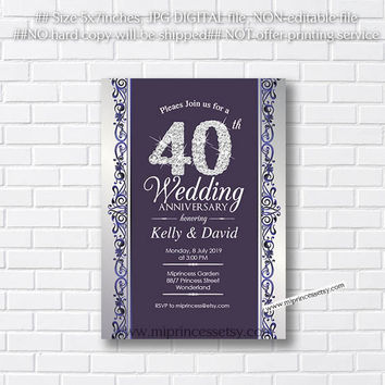 Anniversary Invitation, Wedding Anniversary Invitation 10th 20th 30th 40th 50th 60th 70th elegant glitter design  - card 467