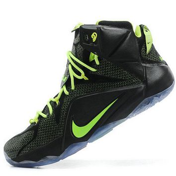 2018 Official Lebron 12 PS Elite Carbon Black Electric Green 650884 003 Brand sneaker