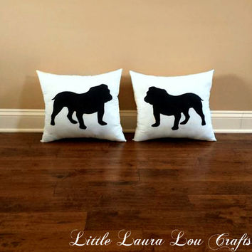 Bulldog Dog Silhouette Throw Pillow Set (set of 2), Decorative Pillow, Home Decor, Pets, Dog Pillow, Dorm Decor, UGA **FREE SHIPPING**