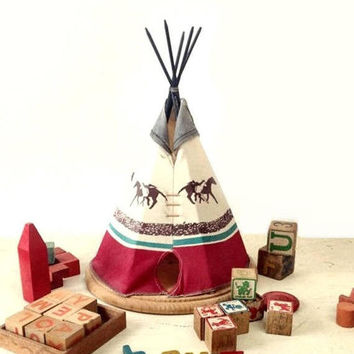 ON SALE - Vintage Teepee, Large Homemade Tee Pee, Western Frontier Children's Room or Lodge Home Decor, Tribal Fabric & Wood, Running Horses