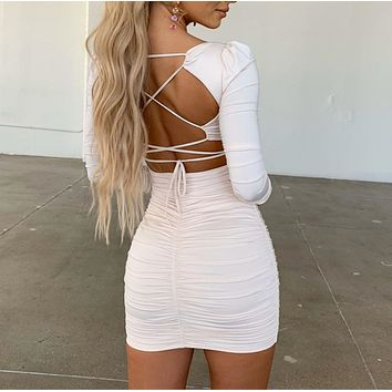 Solid color Fashion backless tight dress