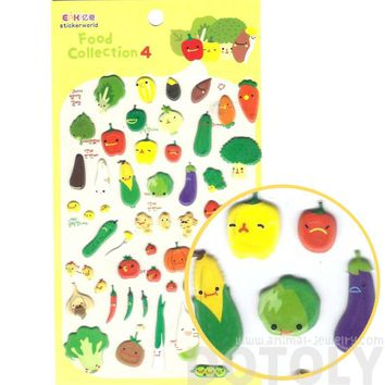 Super Cute Vegetable Broccoli Carrot Corn Shaped Puffy Stickers for Scrapbooking