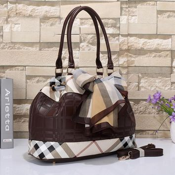 Burberry Women Leather Shoulder Bag Tote Handbag Satchel-3