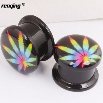 1 Pair Colorful Leaf Ear Plugs Tunnels Expander Stretcher Gauge Acrylic Screw Fit Plug  Piercing Body Jwelry 4mm--16mm