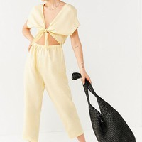 UO Tie-Front Cut-Out Linen Jumpsuit   Urban Outfitters