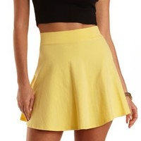 High-Waisted Cotton Skater Skirt by Charlotte Russe