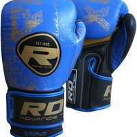 RDX Leather Gel Blue Gold MMA Boxing Gloves